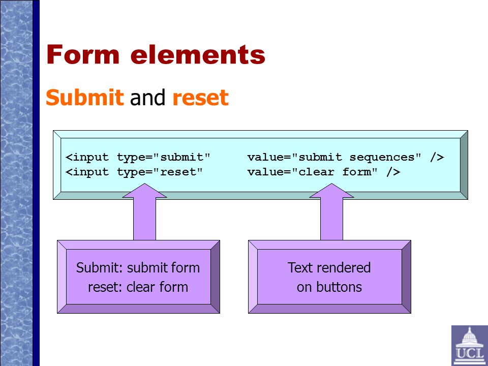 Form elements Submit and reset Submit: submit form reset: clear form Text rendered on buttons