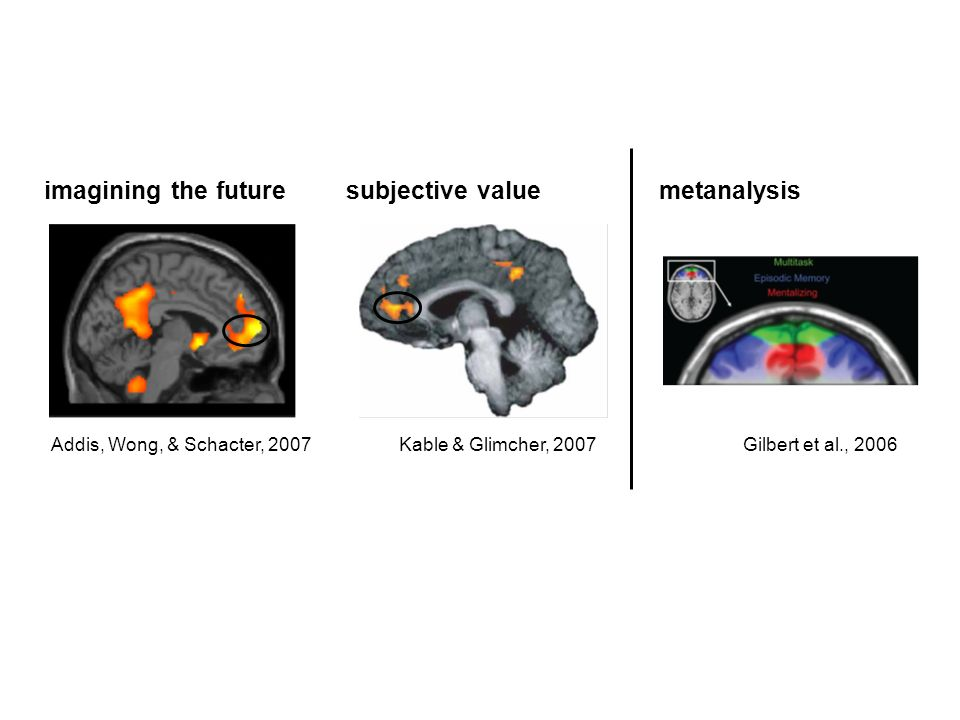 imagining the future Addis, Wong, & Schacter, 2007 subjective value Kable & Glimcher, 2007 metanalysis Gilbert et al., 2006