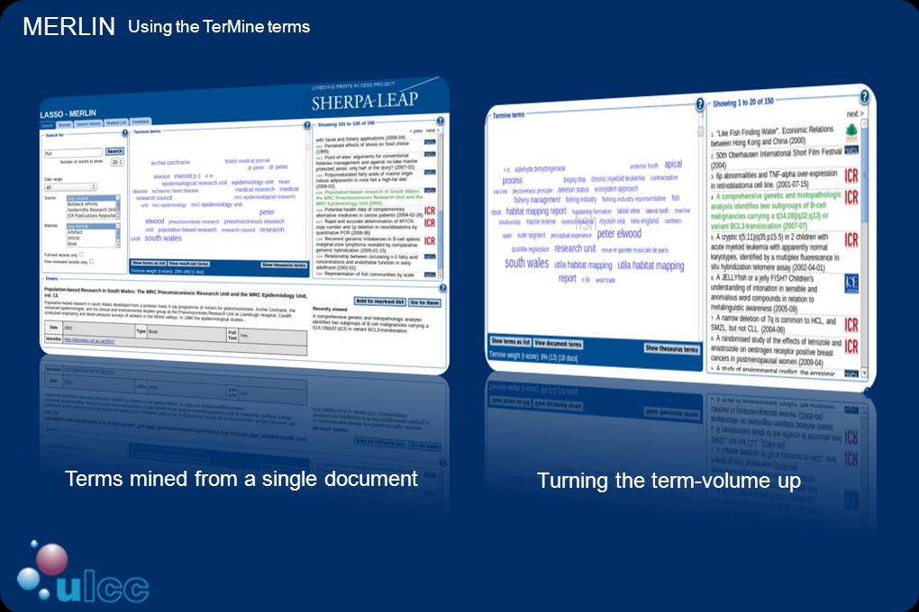 MERLIN Using the TerMine terms Terms mined from a single document Turning the term-volume up