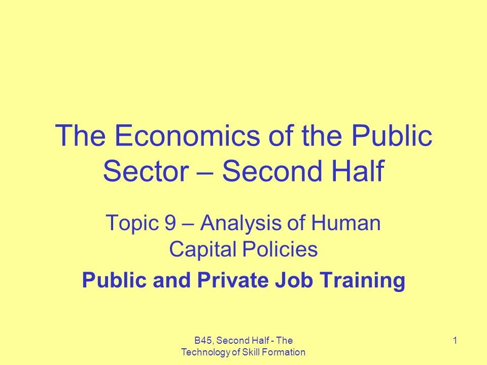 B45, Second Half - The Technology of Skill Formation 1 The Economics of the Public Sector – Second Half Topic 9 – Analysis of Human Capital Policies Public and Private Job Training