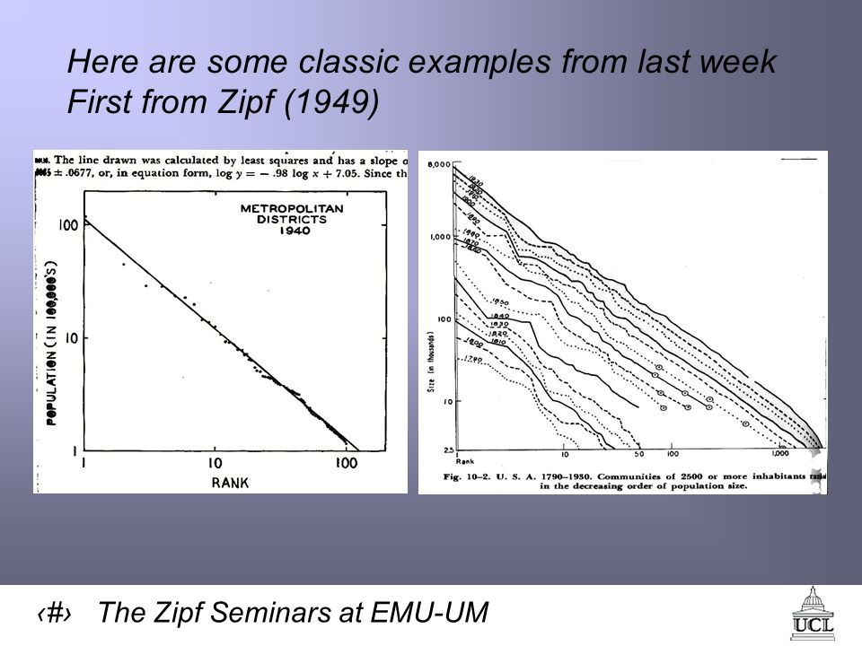 6 The Zipf Seminars at EMU-UM Here are some classic examples from last week First from Zipf (1949)