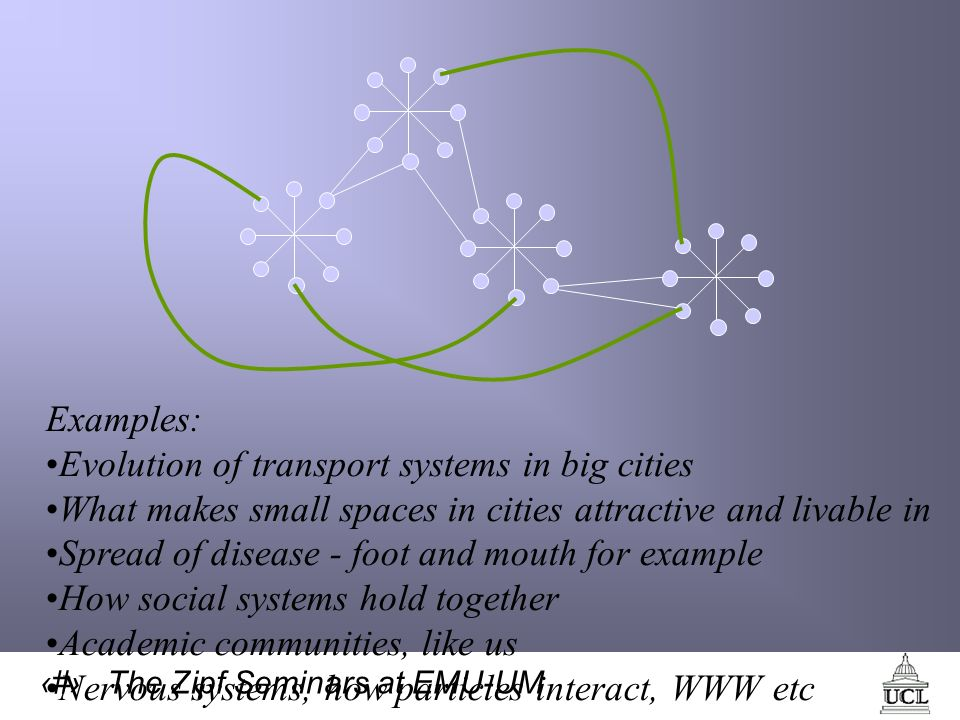 61 The Zipf Seminars at EMU-UM Examples: Evolution of transport systems in big cities What makes small spaces in cities attractive and livable in Spread of disease - foot and mouth for example How social systems hold together Academic communities, like us Nervous systems, how particles interact, WWW etc