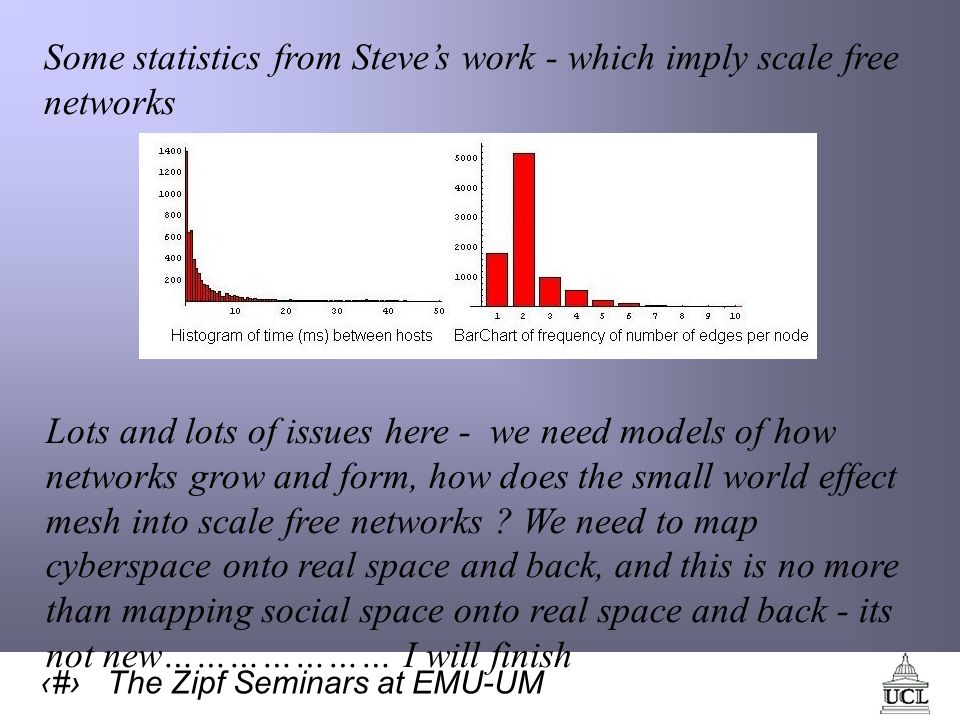 68 The Zipf Seminars at EMU-UM Some statistics from Steves work - which imply scale free networks Lots and lots of issues here - we need models of how networks grow and form, how does the small world effect mesh into scale free networks .