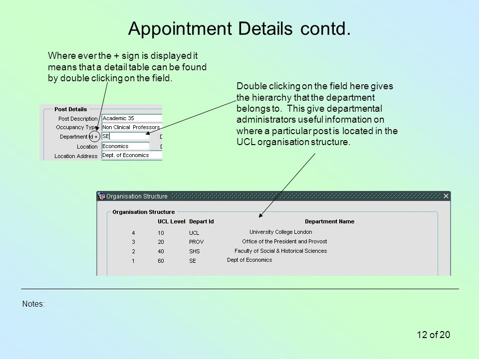 Notes: 12 of 20 Appointment Details contd.