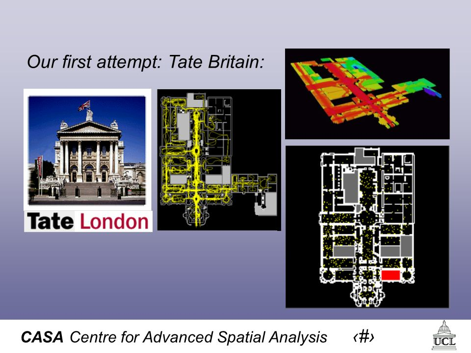 CASA Centre for Advanced Spatial Analysis 10 Our first attempt: Tate Britain: