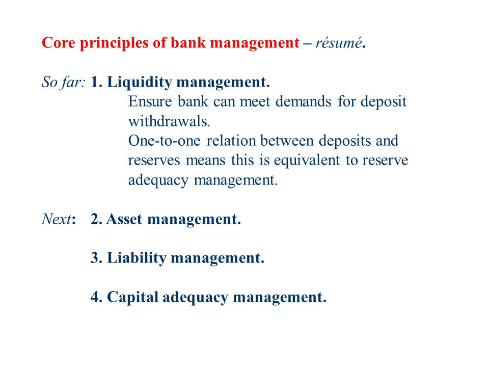 The banks balance sheet. Definitions, etc. Managing the banks ...