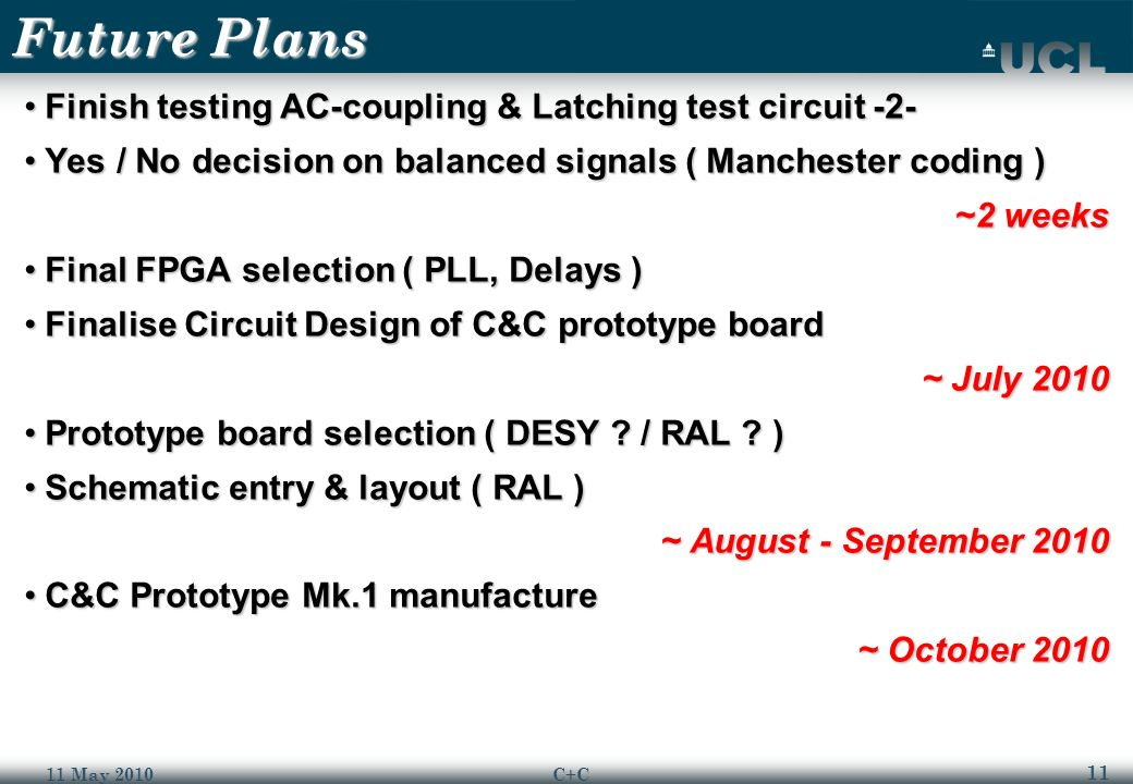 11 11 May 2010C+C Future Plans Finish testing AC-coupling & Latching test circuit -2-Finish testing AC-coupling & Latching test circuit -2- Yes / No decision on balanced signals ( Manchester coding )Yes / No decision on balanced signals ( Manchester coding ) ~2 weeks Final FPGA selection ( PLL, Delays )Final FPGA selection ( PLL, Delays ) Finalise Circuit Design of C&C prototype boardFinalise Circuit Design of C&C prototype board ~ July 2010 Prototype board selection ( DESY .