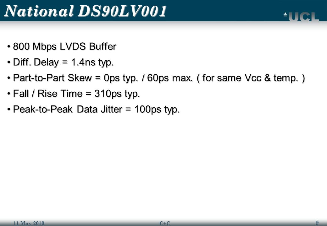 9 11 May 2010C+C National DS90LV001 800 Mbps LVDS Buffer800 Mbps LVDS Buffer Diff.
