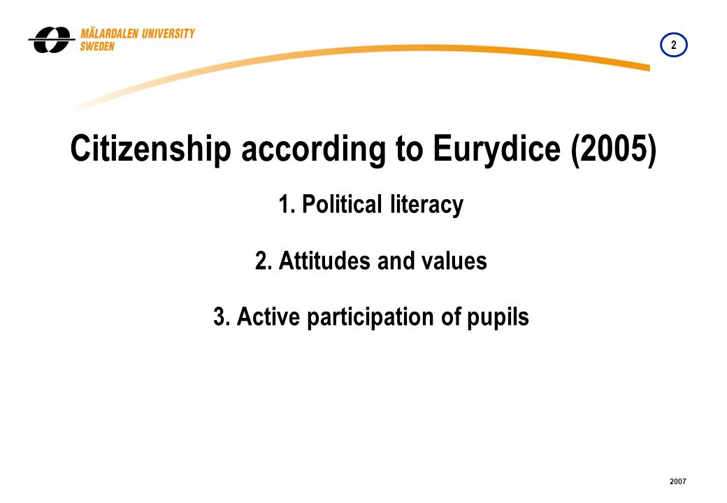2 2007 1. Political literacy 2. Attitudes and values 3.