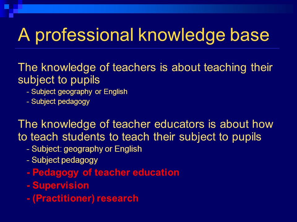 A professional knowledge base The knowledge of teachers is about teaching their subject to pupils - Subject geography or English - Subject pedagogy The knowledge of teacher educators is about how to teach students to teach their subject to pupils - Subject: geography or English - Subject pedagogy - Pedagogy of teacher education - Supervision - (Practitioner) research