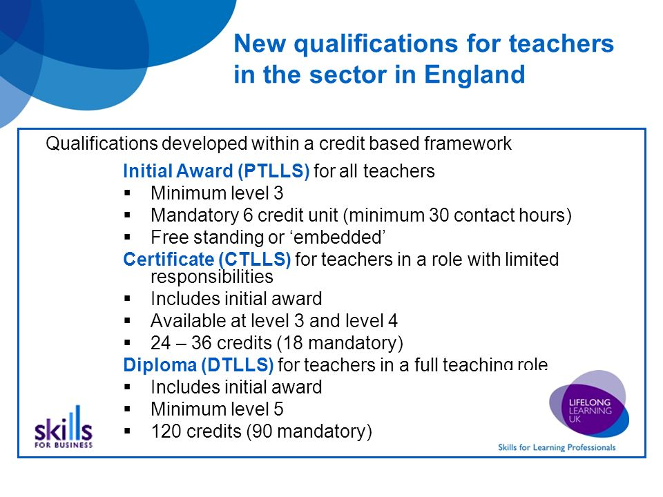 New qualifications for teachers in the sector in England Initial Award (PTLLS) for all teachers Minimum level 3 Mandatory 6 credit unit (minimum 30 contact hours) Free standing or embedded Certificate (CTLLS) for teachers in a role with limited responsibilities Includes initial award Available at level 3 and level 4 24 – 36 credits (18 mandatory) Diploma (DTLLS) for teachers in a full teaching role Includes initial award Minimum level credits (90 mandatory) Qualifications developed within a credit based framework