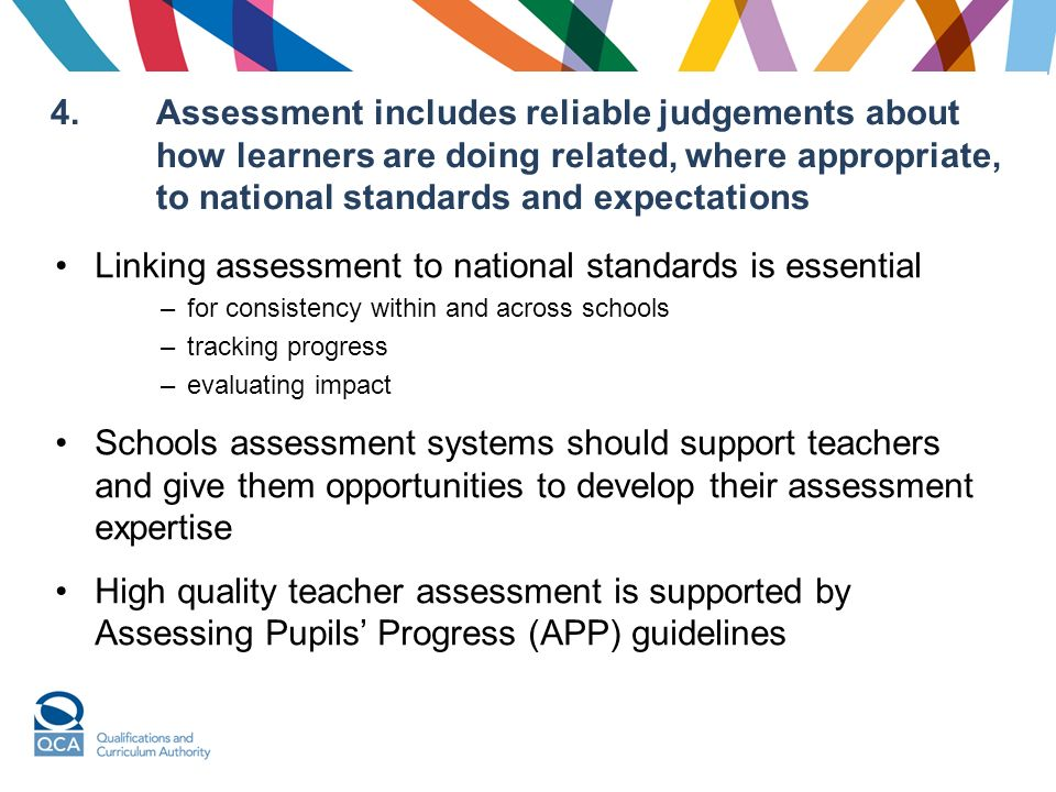 4.Assessment includes reliable judgements about how learners are doing related, where appropriate, to national standards and expectations Linking assessment to national standards is essential –for consistency within and across schools –tracking progress –evaluating impact Schools assessment systems should support teachers and give them opportunities to develop their assessment expertise High quality teacher assessment is supported by Assessing Pupils Progress (APP) guidelines