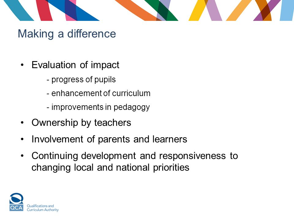 Making a difference Evaluation of impact - progress of pupils - enhancement of curriculum - improvements in pedagogy Ownership by teachers Involvement of parents and learners Continuing development and responsiveness to changing local and national priorities