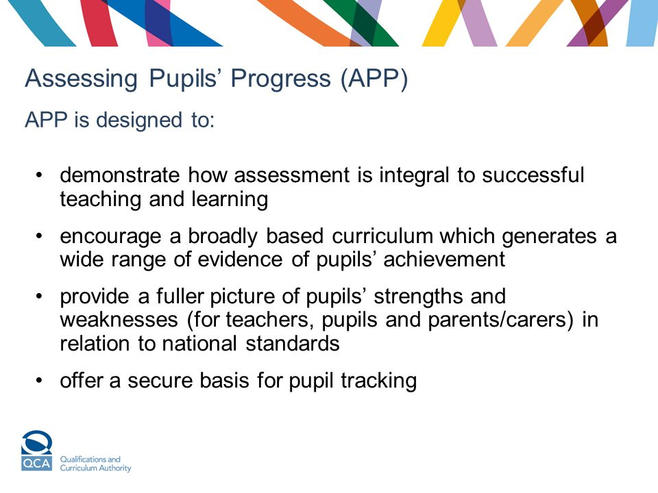 Assessing Pupils Progress (APP) APP is designed to: demonstrate how assessment is integral to successful teaching and learning encourage a broadly based curriculum which generates a wide range of evidence of pupils achievement provide a fuller picture of pupils strengths and weaknesses (for teachers, pupils and parents/carers) in relation to national standards offer a secure basis for pupil tracking
