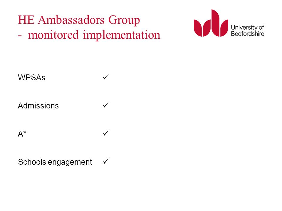 HE Ambassadors Group - monitored implementation WPSAs Admissions A* Schools engagement