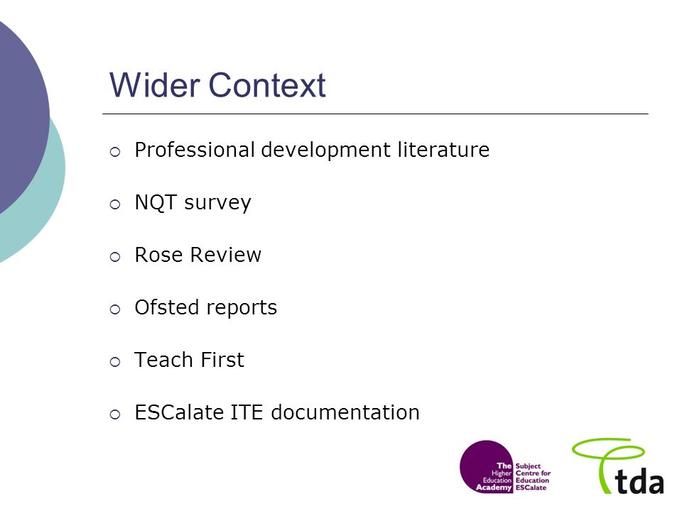 Wider Context Professional development literature NQT survey Rose Review Ofsted reports Teach First ESCalate ITE documentation