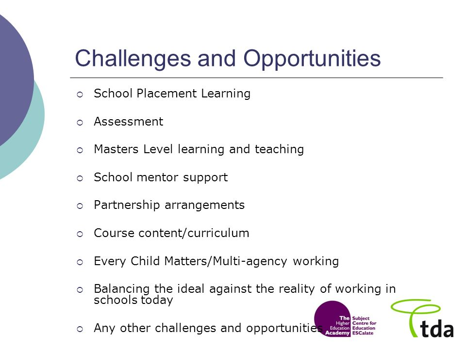Challenges and Opportunities School Placement Learning Assessment Masters Level learning and teaching School mentor support Partnership arrangements Course content/curriculum Every Child Matters/Multi-agency working Balancing the ideal against the reality of working in schools today Any other challenges and opportunities