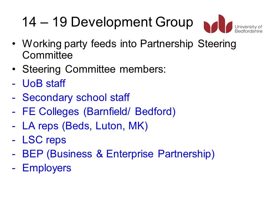 14 – 19 Development Group Working party feeds into Partnership Steering Committee Steering Committee members: -UoB staff -Secondary school staff -FE Colleges (Barnfield/ Bedford) -LA reps (Beds, Luton, MK) -LSC reps -BEP (Business & Enterprise Partnership) -Employers