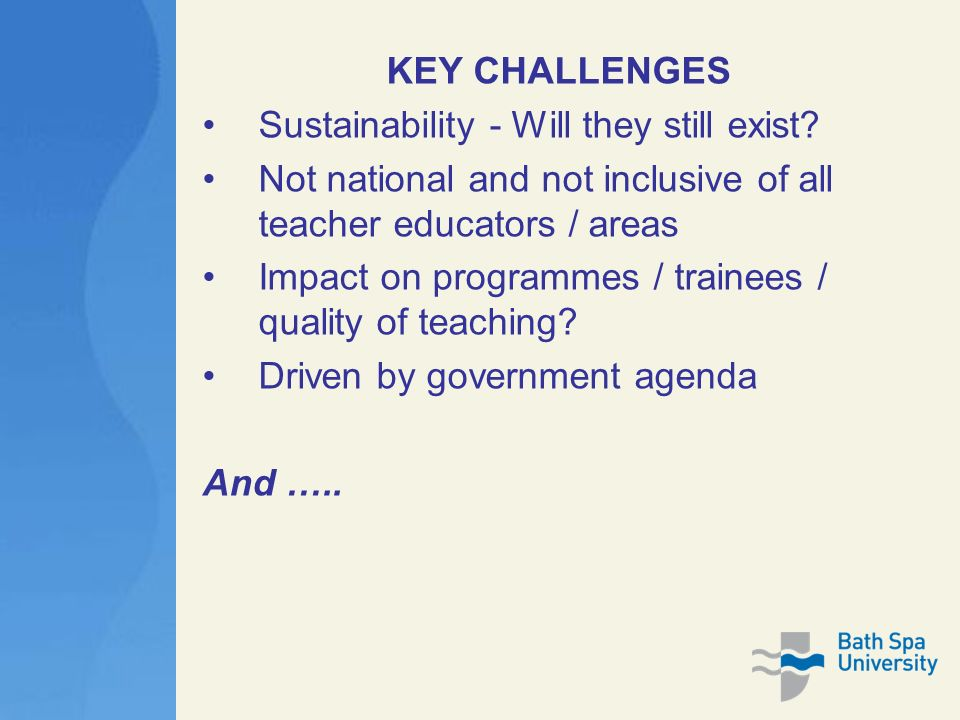 KEY CHALLENGES Sustainability - Will they still exist.