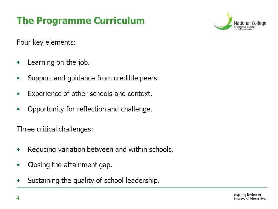 4 The Programme Curriculum Four key elements: Learning on the job.