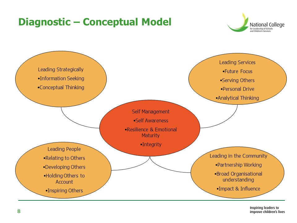 8 Diagnostic – Conceptual Model Leading Strategically Information Seeking Conceptual Thinking Leading People Relating to Others Developing Others Holding Others to Account Inspiring Others Leading Services Future Focus Serving Others Personal Drive Analytical Thinking Leading in the Community Partnership Working Broad Organisational understanding Impact & Influence Self Management Self Awareness Resilience & Emotional Maturity Integrity