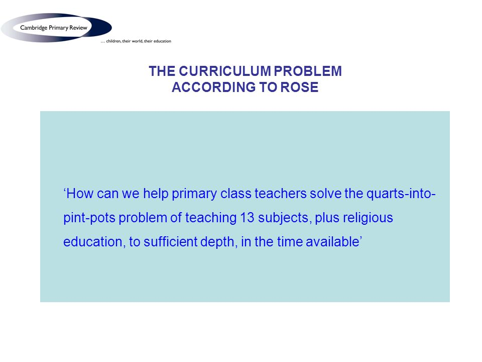 THE CURRICULUM PROBLEM ACCORDING TO ROSE How can we help primary class teachers solve the quarts-into- pint-pots problem of teaching 13 subjects, plus religious education, to sufficient depth, in the time available