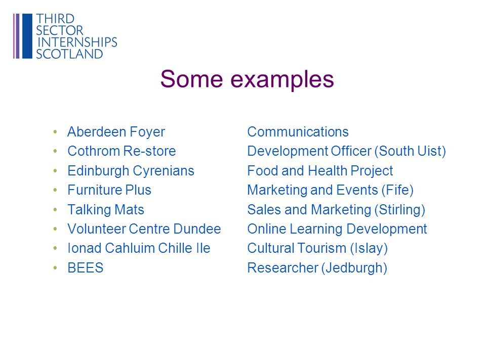 Some examples Aberdeen FoyerCommunications Cothrom Re-storeDevelopment Officer (South Uist) Edinburgh Cyrenians Food and Health Project Furniture PlusMarketing and Events (Fife) Talking MatsSales and Marketing (Stirling) Volunteer Centre DundeeOnline Learning Development Ionad Cahluim Chille IleCultural Tourism (Islay) BEESResearcher (Jedburgh)