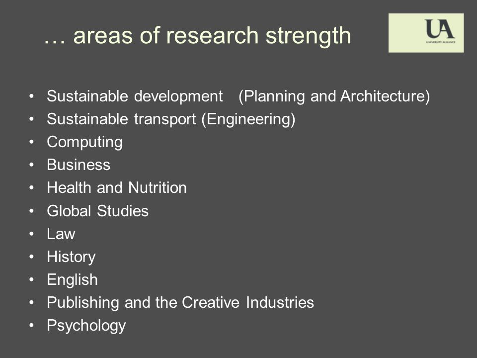 … areas of research strength Sustainable development (Planning and Architecture) Sustainable transport (Engineering) Computing Business Health and Nutrition Global Studies Law History English Publishing and the Creative Industries Psychology