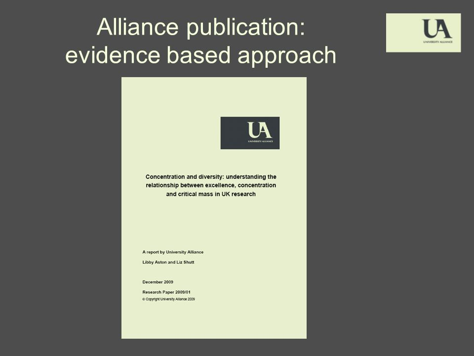 Alliance publication: evidence based approach