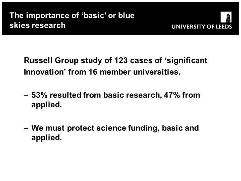 Russell Group study of 123 cases of significant Innovation from 16 member universities.