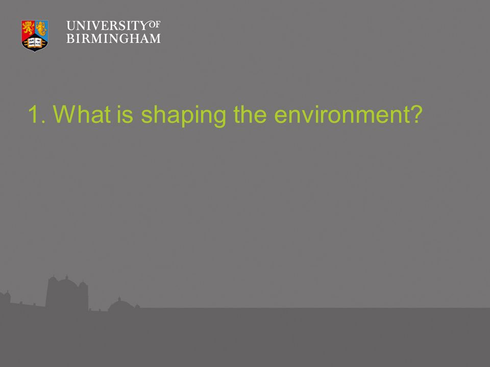 1. What is shaping the environment