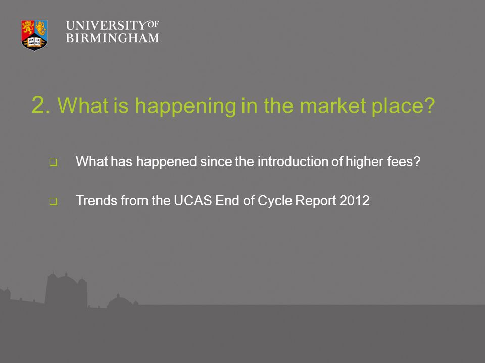 2. What is happening in the market place. What has happened since the introduction of higher fees.