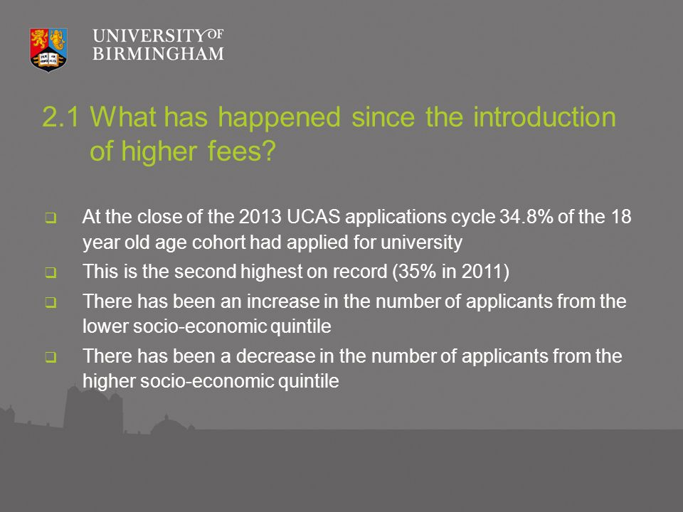 2.1 What has happened since the introduction of higher fees.
