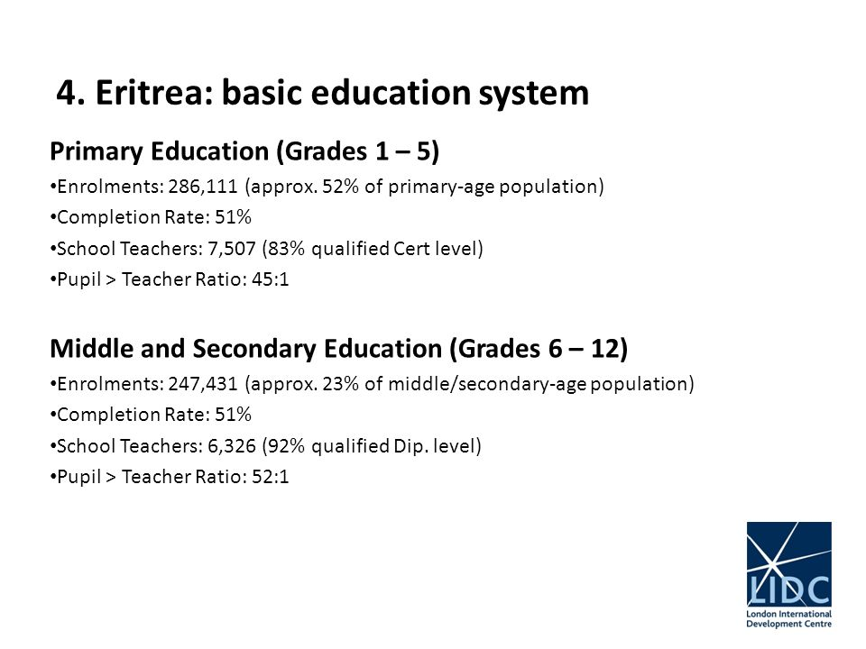 4. Eritrea: basic education system Primary Education (Grades 1 – 5) Enrolments: 286,111 (approx.