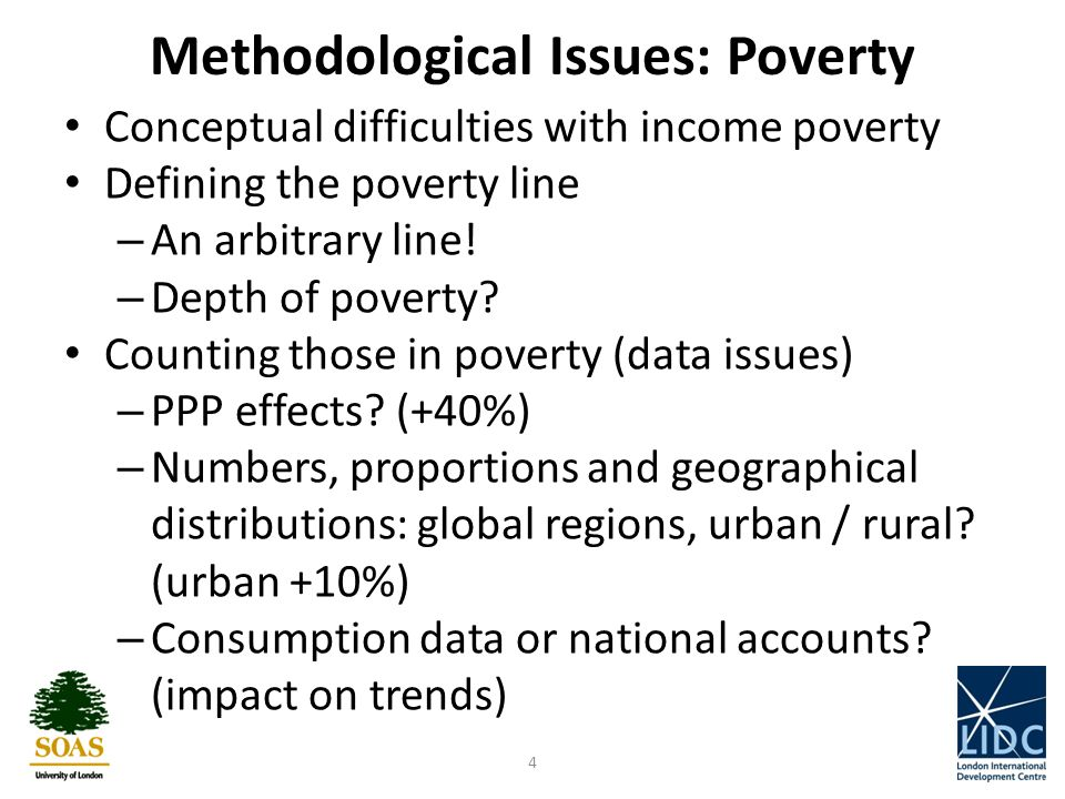 Methodological Issues: Poverty Conceptual difficulties with income poverty Defining the poverty line – An arbitrary line.
