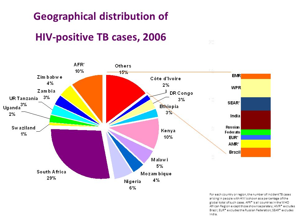 Geographical distribution of HIV-positive TB cases, 2006 For each country or region, the number of incident TB cases arising in people with HIV is shown as a percentage of the global total of such cases.
