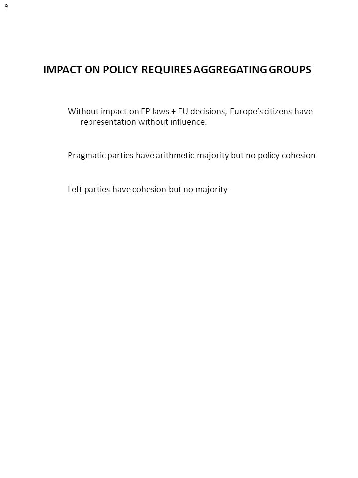 9 IMPACT ON POLICY REQUIRES AGGREGATING GROUPS Without impact on EP laws + EU decisions, Europes citizens have representation without influence.