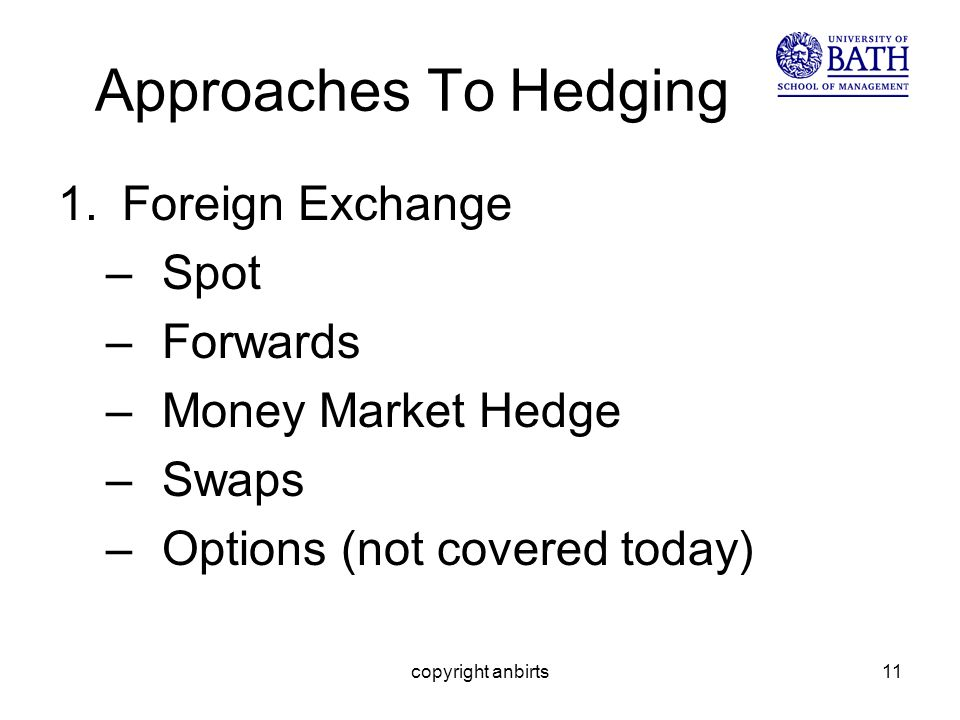 copyright anbirts11 Approaches To Hedging 1.Foreign Exchange –Spot –Forwards –Money Market Hedge –Swaps –Options (not covered today)