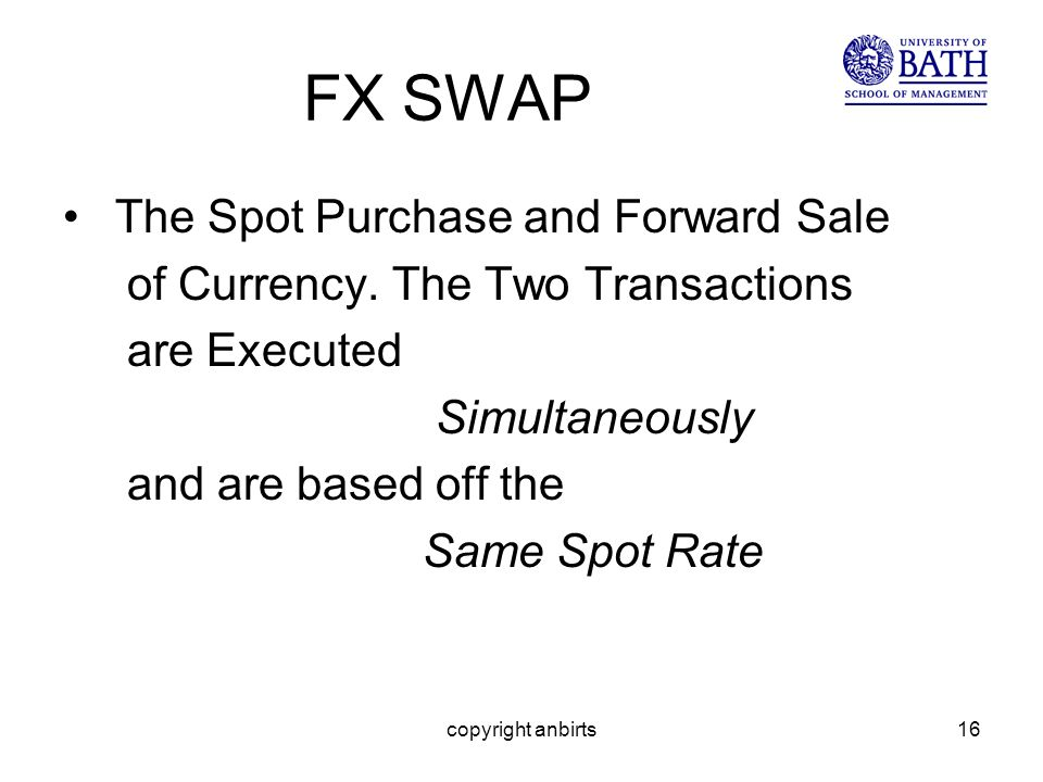 copyright anbirts16 FX SWAP The Spot Purchase and Forward Sale of Currency.