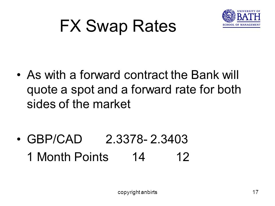 copyright anbirts17 FX Swap Rates As with a forward contract the Bank will quote a spot and a forward rate for both sides of the market GBP/CAD 2.3378- 2.3403 1 Month Points 14 12