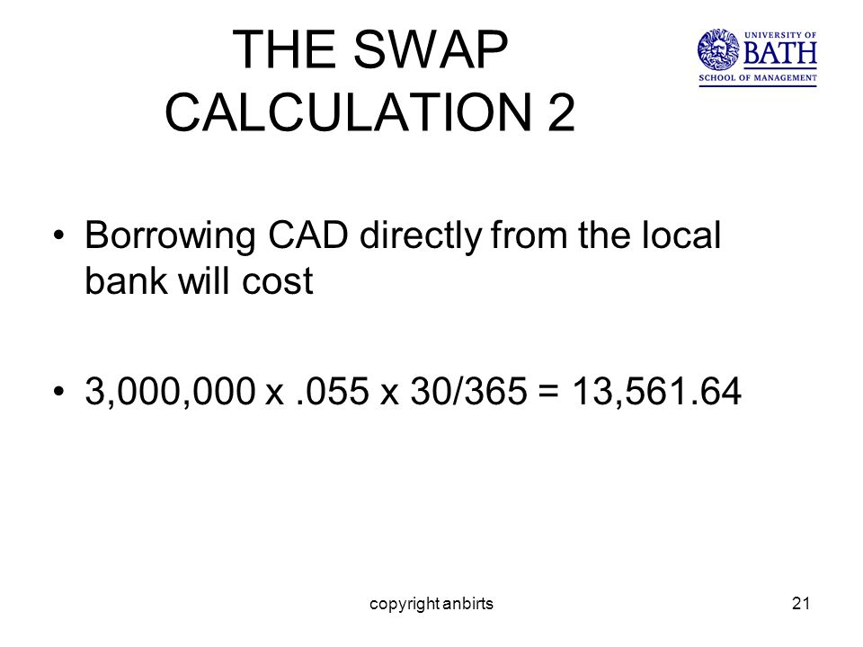 copyright anbirts21 THE SWAP CALCULATION 2 Borrowing CAD directly from the local bank will cost 3,000,000 x.055 x 30/365 = 13,561.64