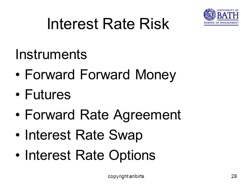 copyright anbirts28 Interest Rate Risk Instruments Forward Forward Money Futures Forward Rate Agreement Interest Rate Swap Interest Rate Options