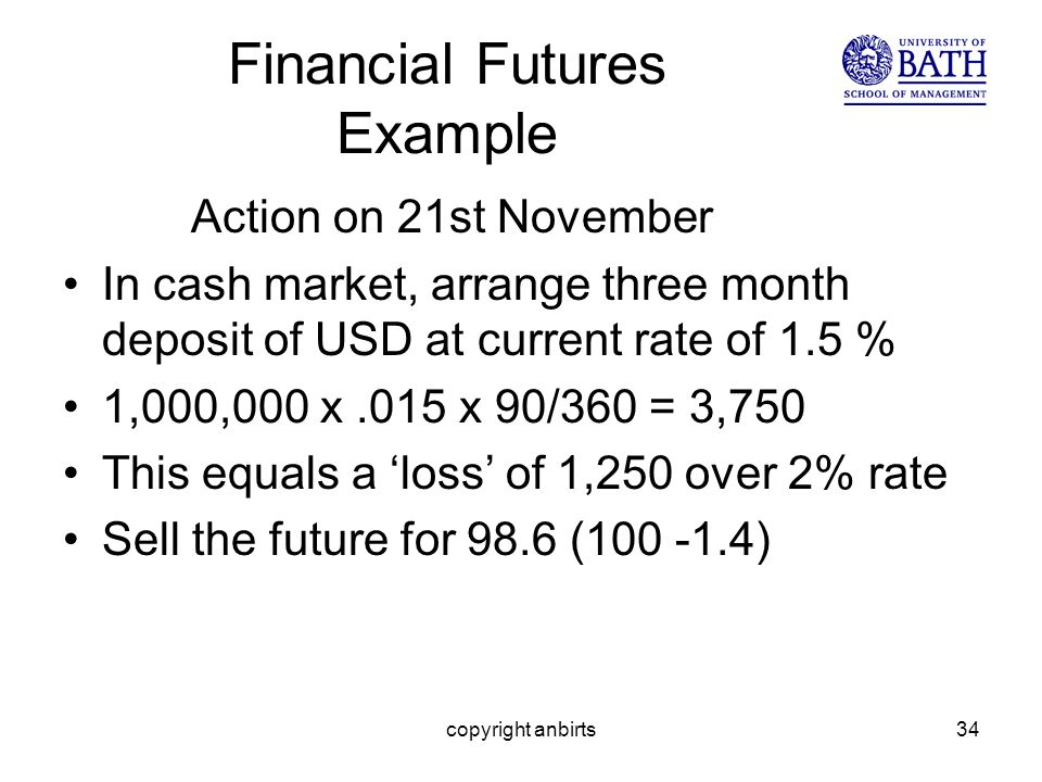 copyright anbirts34 Financial Futures Example Action on 21st November In cash market, arrange three month deposit of USD at current rate of 1.5 % 1,000,000 x.015 x 90/360 = 3,750 This equals a loss of 1,250 over 2% rate Sell the future for 98.6 (100 -1.4)