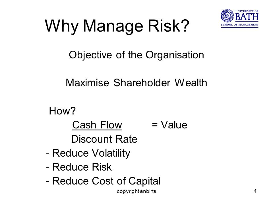 copyright anbirts4 Why Manage Risk. Objective of the Organisation Maximise Shareholder Wealth How.