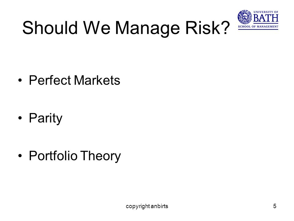 copyright anbirts5 Should We Manage Risk Perfect Markets Parity Portfolio Theory