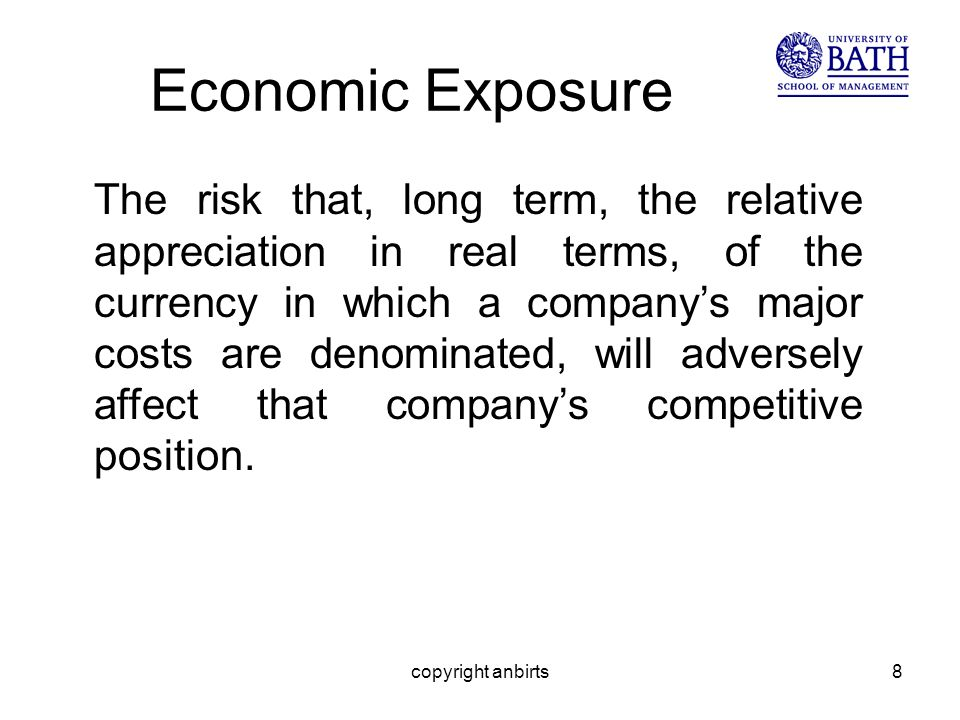 copyright anbirts8 Economic Exposure The risk that, long term, the relative appreciation in real terms, of the currency in which a companys major costs are denominated, will adversely affect that companys competitive position.