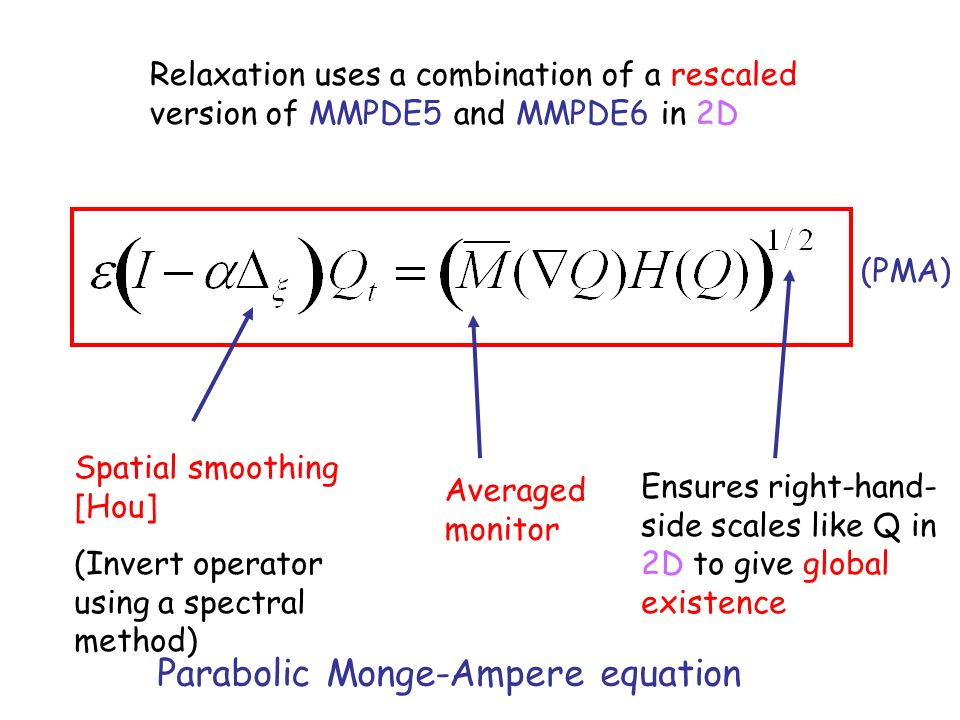 Relaxation uses a combination of a rescaled version of MMPDE5 and MMPDE6 in 2D Spatial smoothing [Hou] (Invert operator using a spectral method) Averaged monitor Ensures right-hand- side scales like Q in 2D to give global existence Parabolic Monge-Ampere equation (PMA)