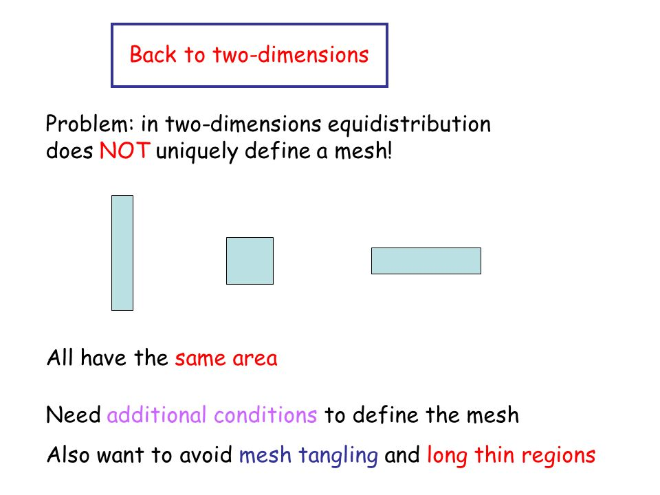 Back to two-dimensions Problem: in two-dimensions equidistribution does NOT uniquely define a mesh.
