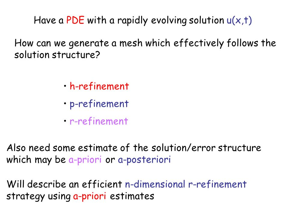 Have a PDE with a rapidly evolving solution u(x,t) How can we generate a mesh which effectively follows the solution structure.