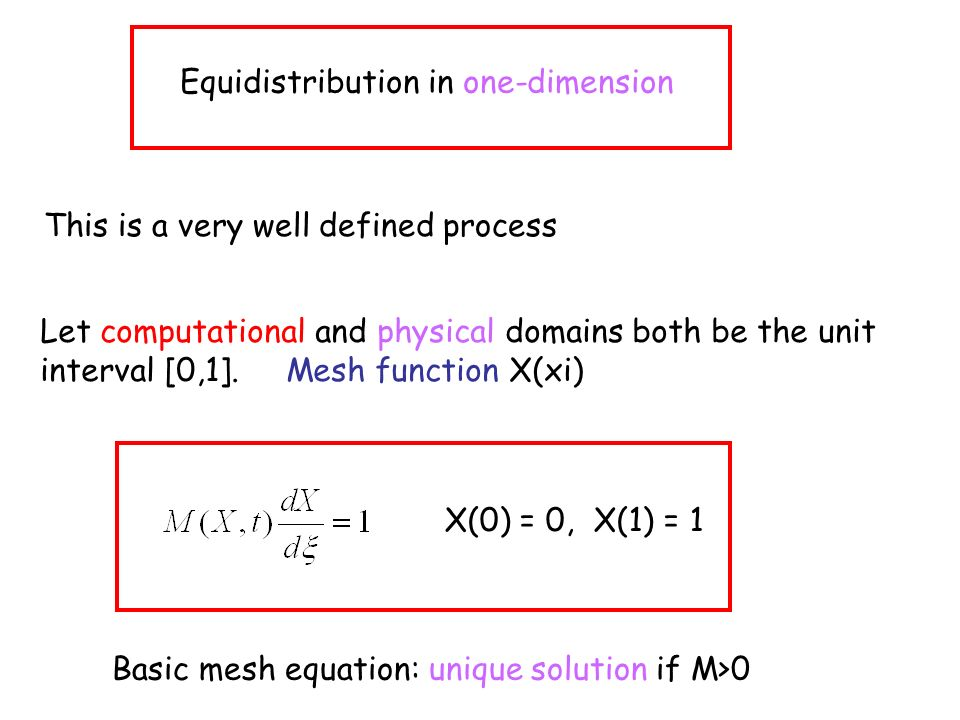 Equidistribution in one-dimension This is a very well defined process Let computational and physical domains both be the unit interval [0,1].
